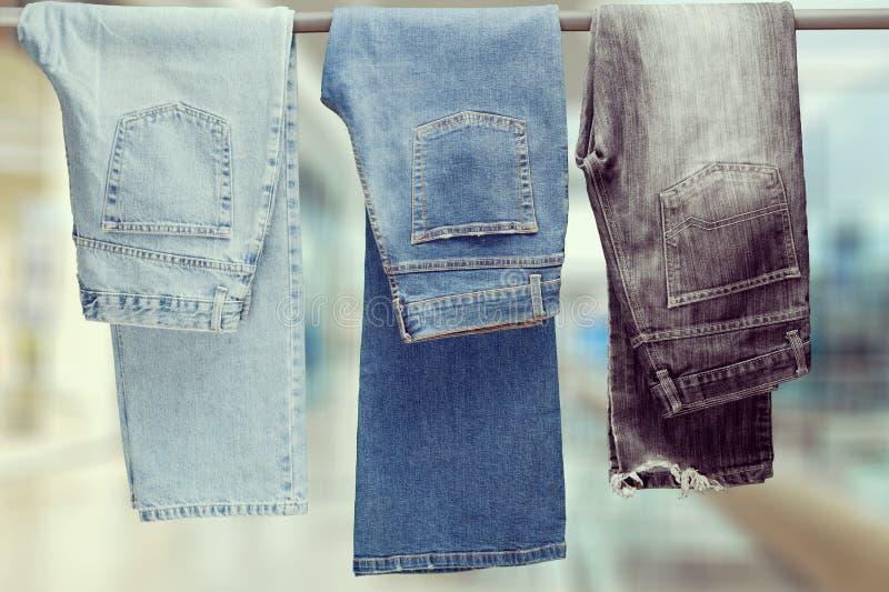 Drie paar van het verschillende jeans hangen stock fotografie