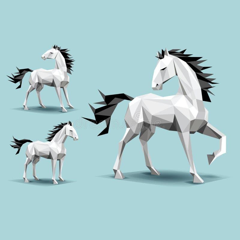 Drie paarden, lage veelhoekvormen, op wintertalingsachtergrond, status, been omhoog, schaduwen, die terug eruit zien royalty-vrije illustratie