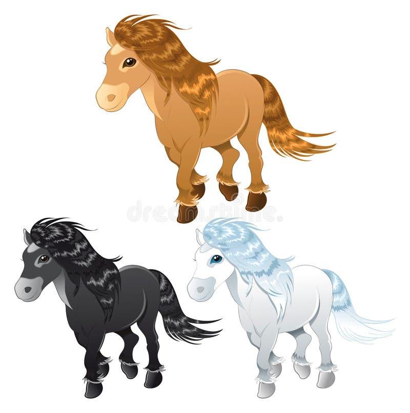 Drie paarden of poney royalty-vrije illustratie