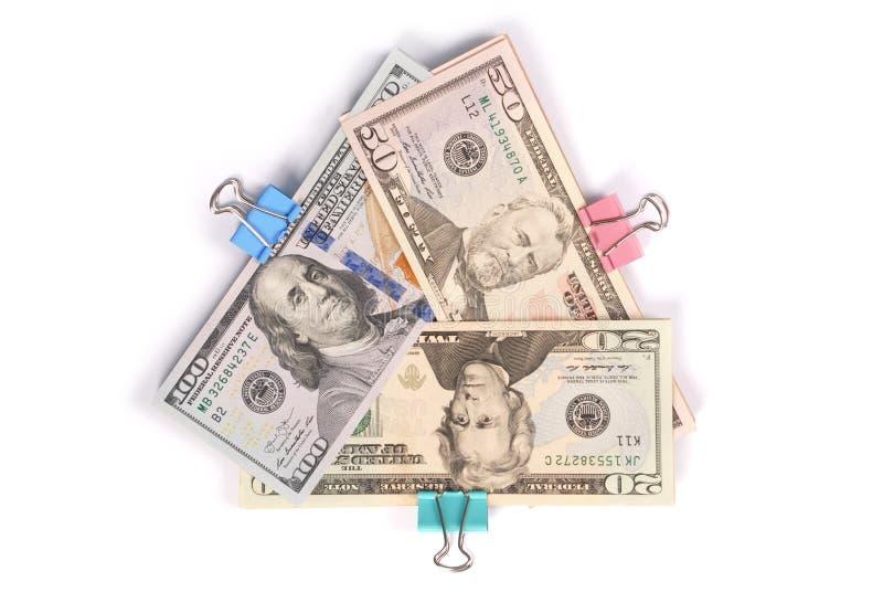 Drie pakjes van geld honderd vijftig twintig dollars royalty-vrije stock foto's