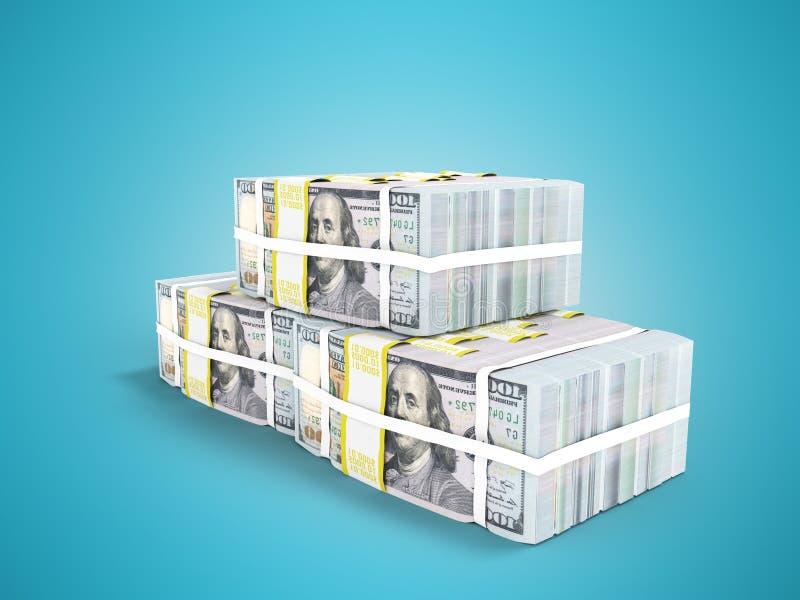 Drie pakken van honderd dollarsrekeningen in 3d piramide geven op blauw terug stock illustratie