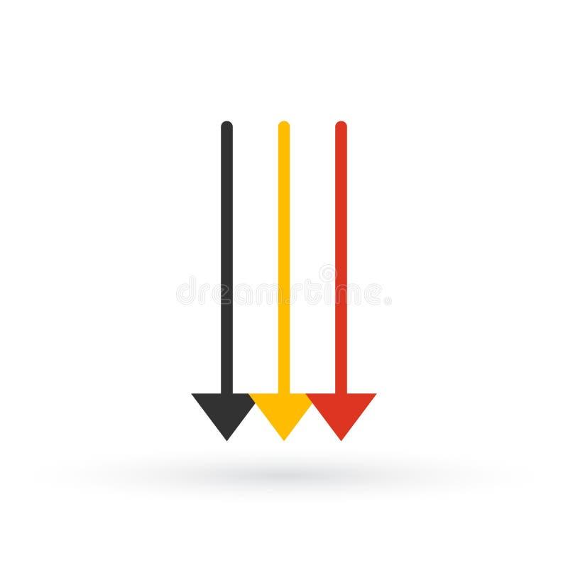 Drie Parallelle Verticale Pijlen in verschillende kleuren die neer richten Vector illustratie die op witte achtergrond wordt geïs vector illustratie