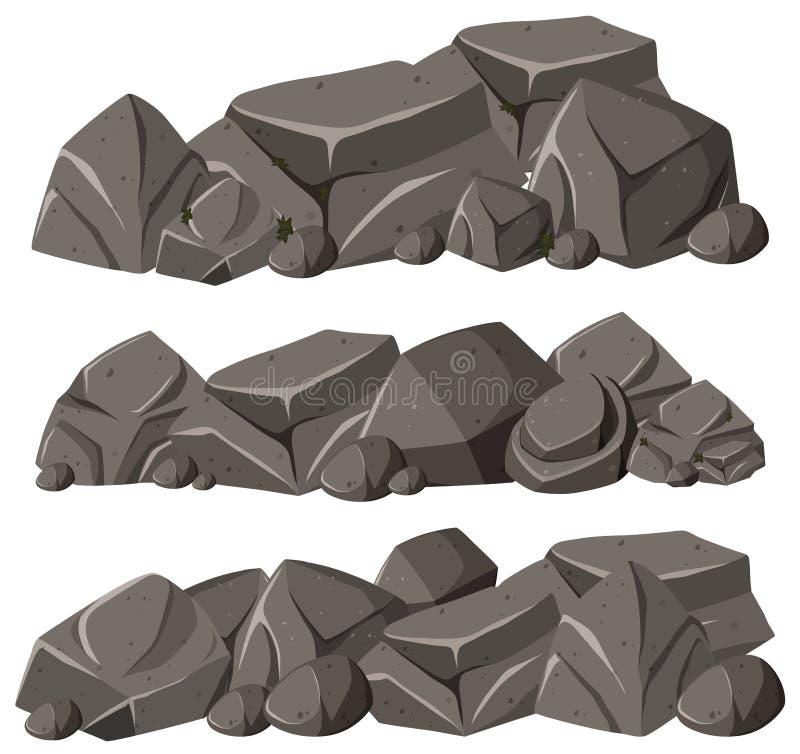 Drie patronen van rotsen in stapel royalty-vrije illustratie