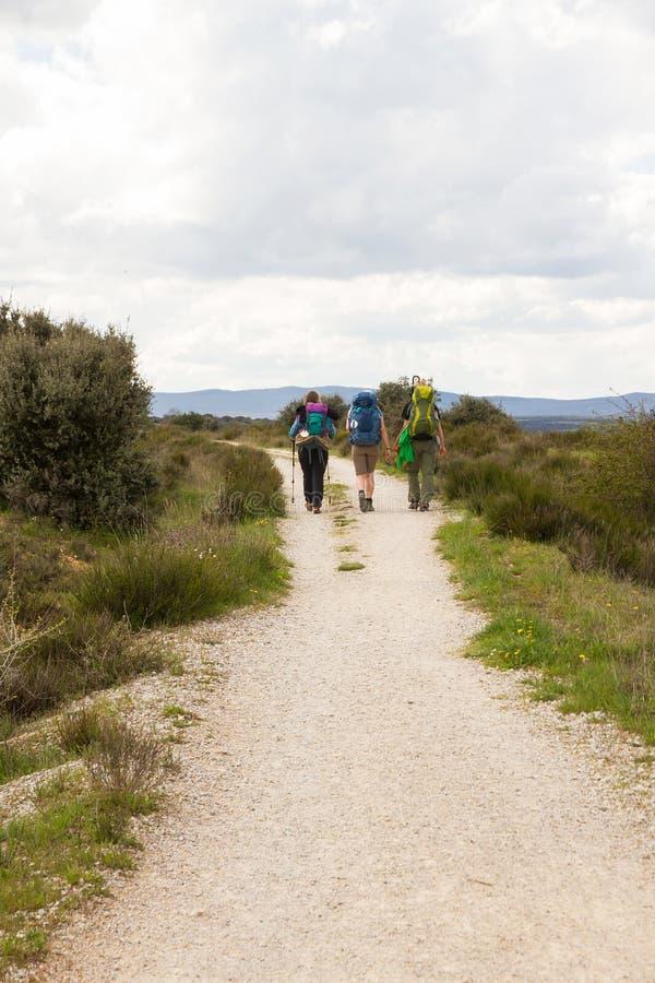 Drie pelgrims op Camino DE Santiago stock afbeelding