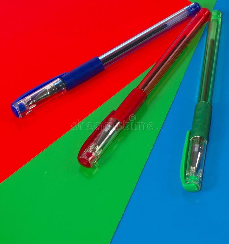 Drie pennen royalty-vrije stock afbeeldingen