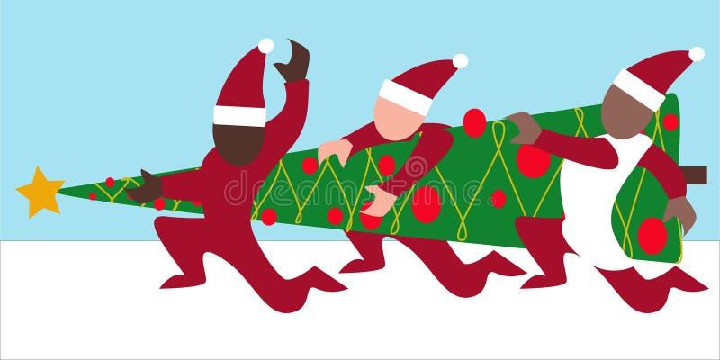 Drie personen die Kerstboom dragen stock afbeeldingen