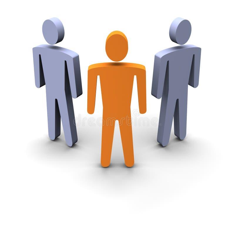 Drie personen groeperen zich stock illustratie