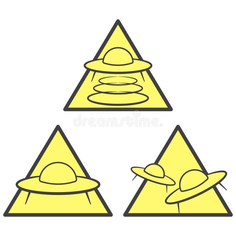 Drie pictogrammen van de UFOwaarschuwing - abductie, aanvals en aankomstgebied Vector op witte achtergrond royalty-vrije illustratie