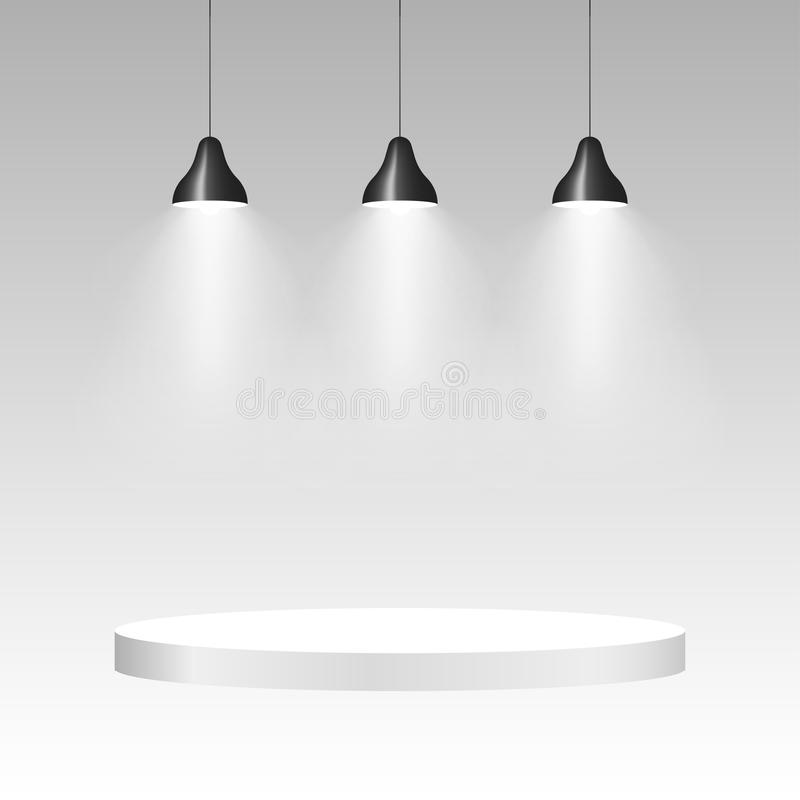 Drie plafondlampen met licht Lamp hangende achtergrond Vector vector illustratie