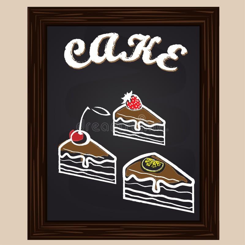 Drie plakken van cake met citroen, aardbei, kers vector illustratie