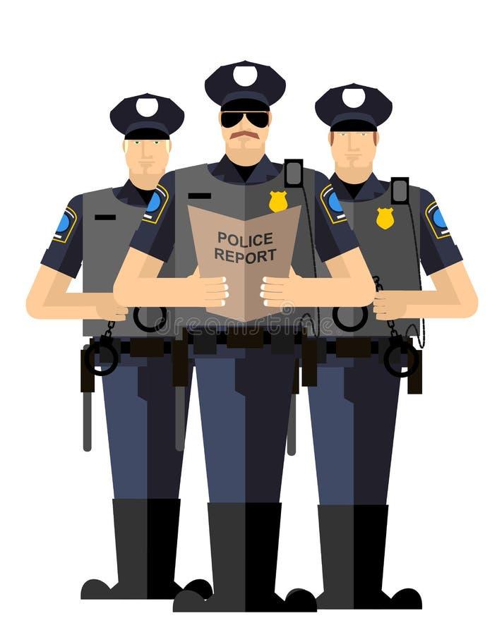 Drie politiemannen werden gearresteerd Politiesilhouet Arre stock illustratie