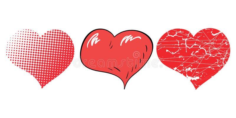 Drie pop-artharten voor Valentijnskaartendag stock illustratie