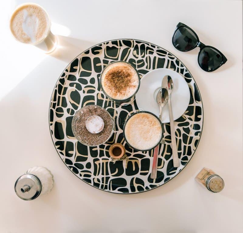 Drie porties van latte royalty-vrije stock foto's