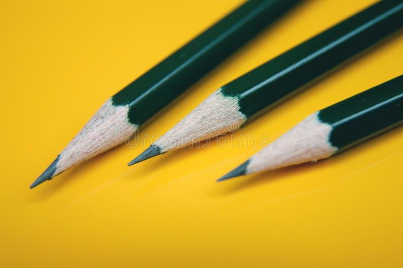 Drie potloden stock fotografie