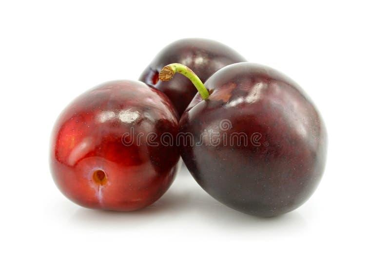 Drie pruimfruit dat op wit wordt geïsoleerde stock foto