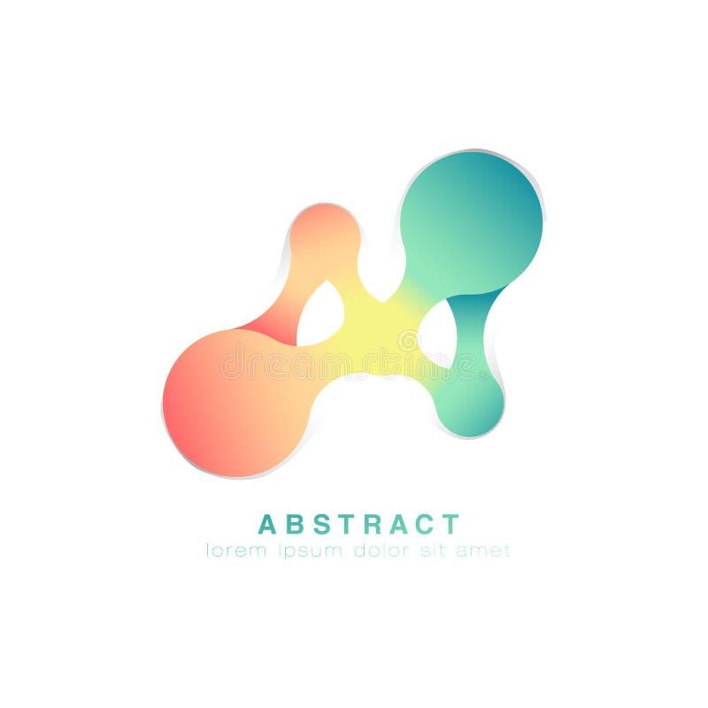 Drie punten worden verbonden Abstract embleem Groen en roze oneindig embleem Vector vector illustratie