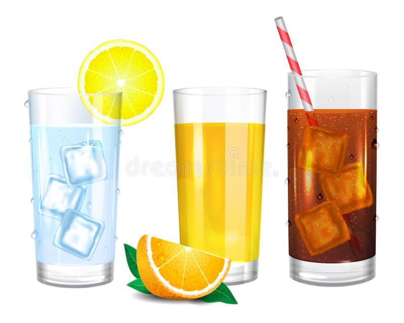 Drie realistische glazen dranken Kola, water en jus d'orange stock illustratie