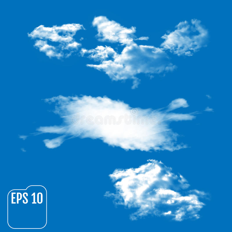Drie realistische wolken op een hemel-blauwe achtergrond Vectorillustra royalty-vrije illustratie