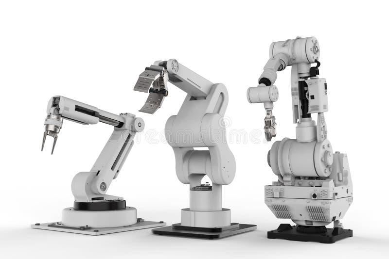 Drie robotachtige wapens op witte achtergrond royalty-vrije illustratie