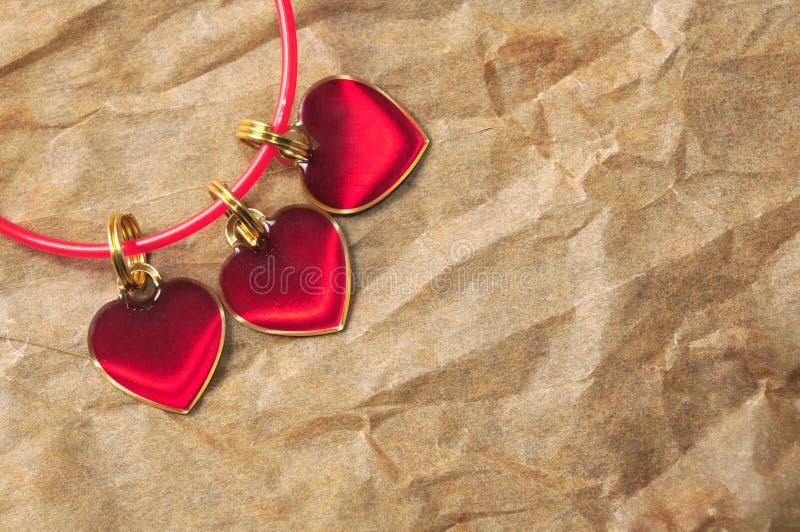 Drie rode harten royalty-vrije stock afbeelding