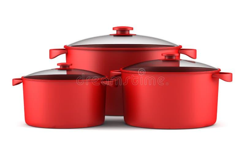 Drie rode kokende pannen die op wit worden geïsoleerdi stock illustratie