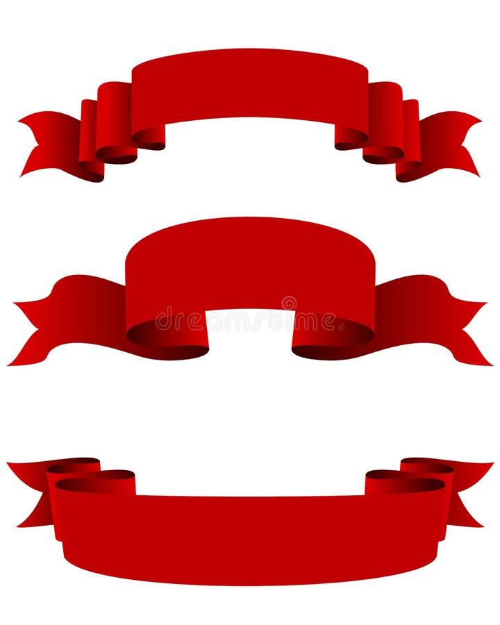 Drie rode linten royalty-vrije illustratie