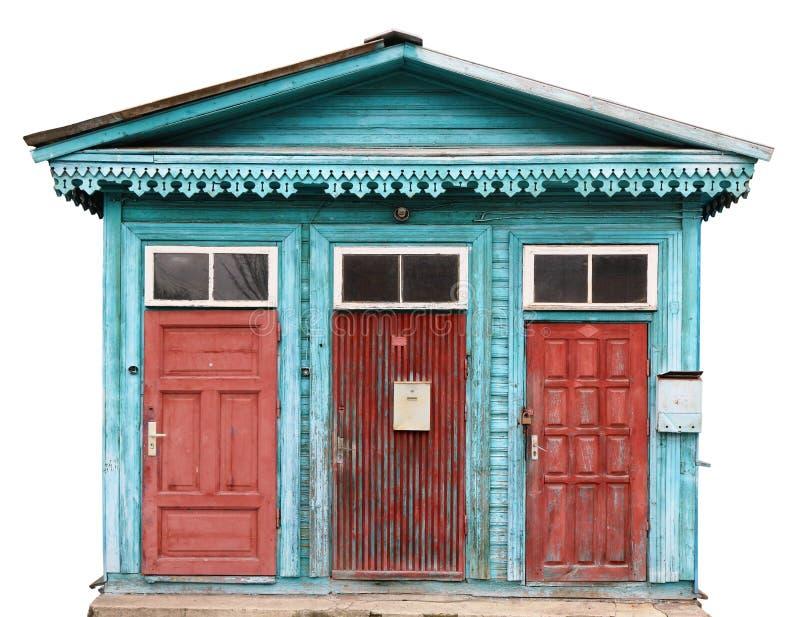 Drie rode oude gebarsten retro rode deuren royalty-vrije stock foto's