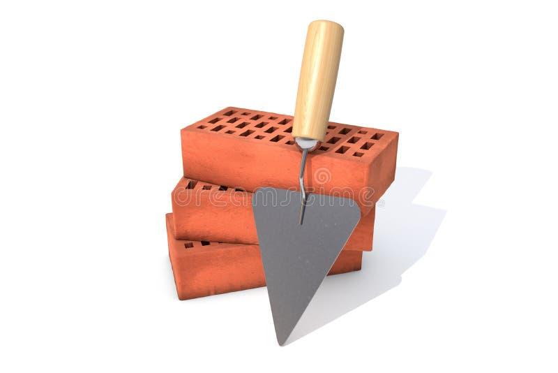 Drie rode silicaatbakstenen in een stapel met een troffel op witte achtergrond vector illustratie