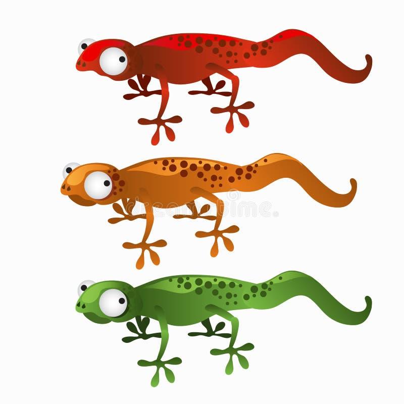 Drie rood, groene beeldverhaalhagedissen, en sinaasappel vector illustratie