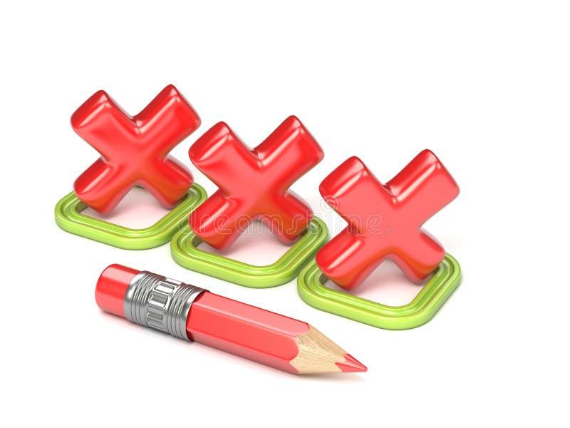 Drie rood onjuist vinkje in groen vierkant 3d stock illustratie