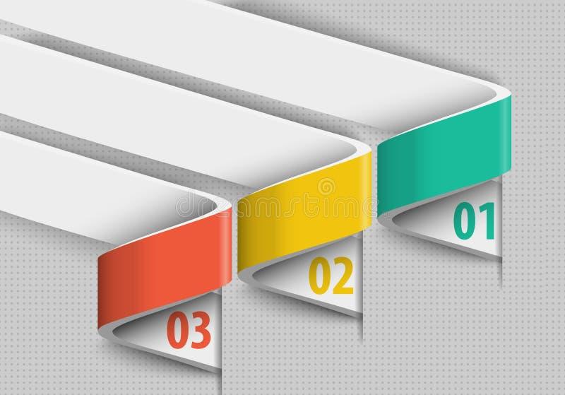 Drie samenvatting verdraaide infographics van het lint 3d ontwerp stock illustratie