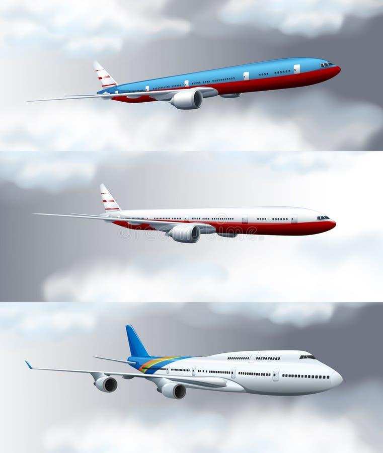 Drie scènes met jets die in hemel vliegen vector illustratie