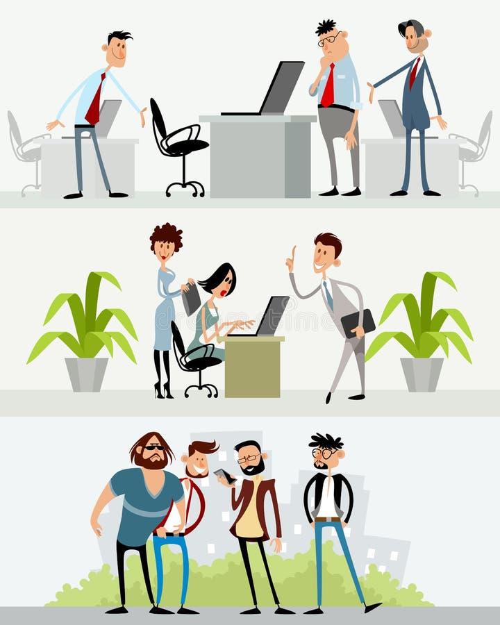 Drie scènes met verschillende karakters vector illustratie