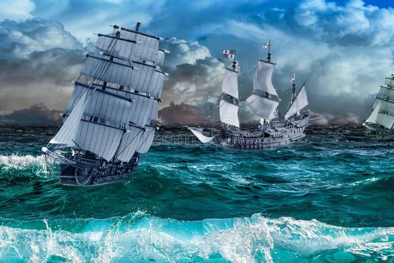 Drie schepen in een overzees onweer royalty-vrije illustratie