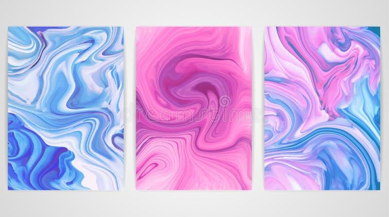 Drie schilderijen met marmering Marmeren textuur stock foto's
