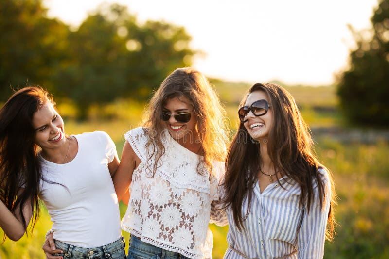 Drie schitterende donker-haired jonge vrouwen in zonnebril gekleed in de mooie kleren glimlachen en openlucht lopen royalty-vrije stock fotografie