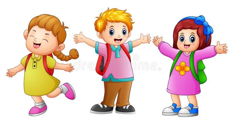 Drie schooljonge geitjes het golven stock illustratie