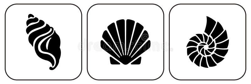 Drie shells royalty-vrije illustratie