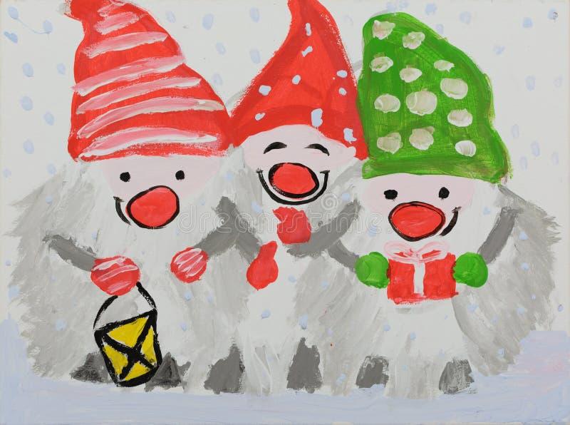 Drie sneeuwmannen in kappen van groene en rode kleuren met een flitslicht royalty-vrije illustratie