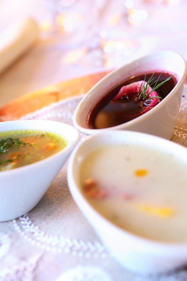 Drie soepen in kommen royalty-vrije stock foto's