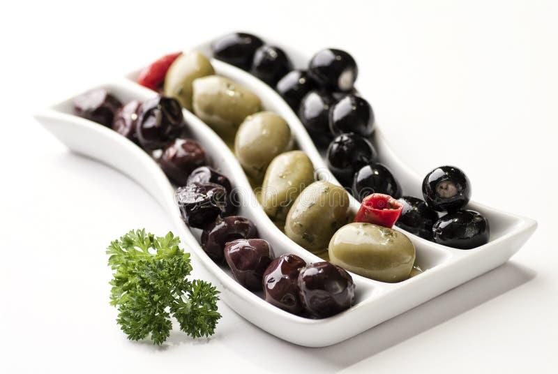 Drie soorten olijven royalty-vrije stock afbeelding