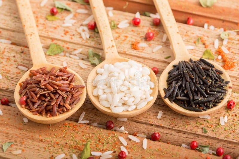 Drie soorten rijst royalty-vrije stock afbeeldingen