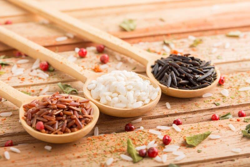Drie soorten rijst stock foto's