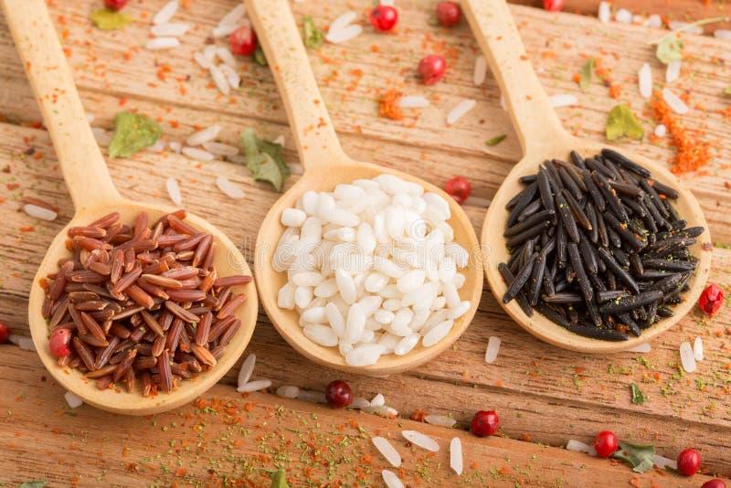 Drie soorten rijst royalty-vrije stock afbeelding