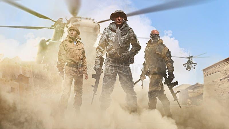 Drie speciale krachtenmensen die een machinegeweer op de achtergrond van de Arabische straat houden vector illustratie