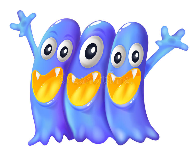 Drie speelse blauwe monsters royalty-vrije illustratie