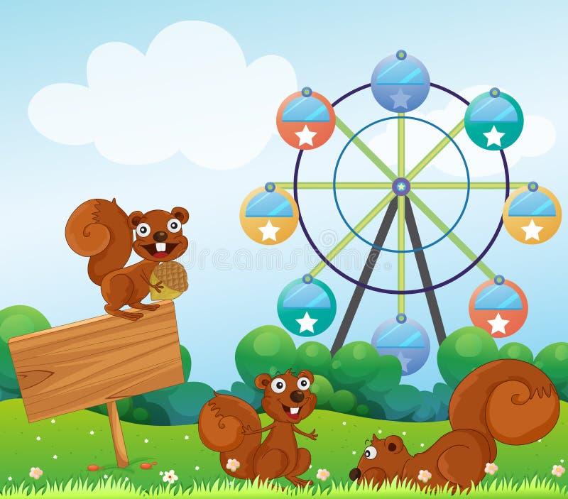 Drie speelse eekhoorns dichtbij lege arrowboard bij de heuveltop stock illustratie