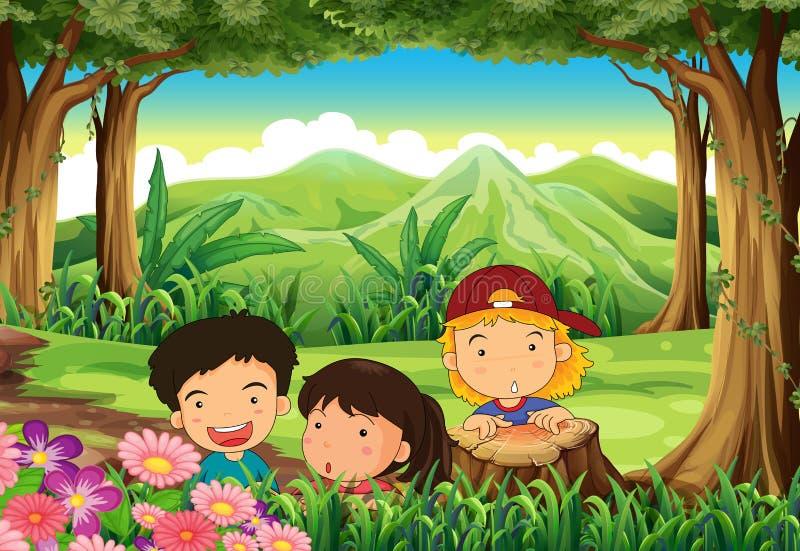 Download Drie Speelse Jonge Geitjes Bij Het Hout Vector Illustratie - Illustratie bestaande uit beeldverhaal, bladeren: 39116961