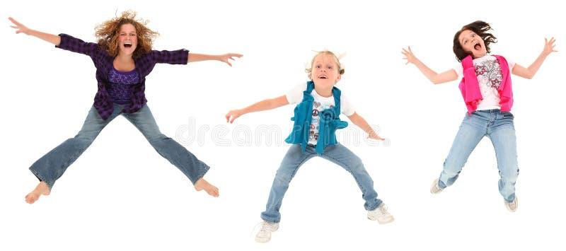 Drie springende Zusters royalty-vrije stock foto