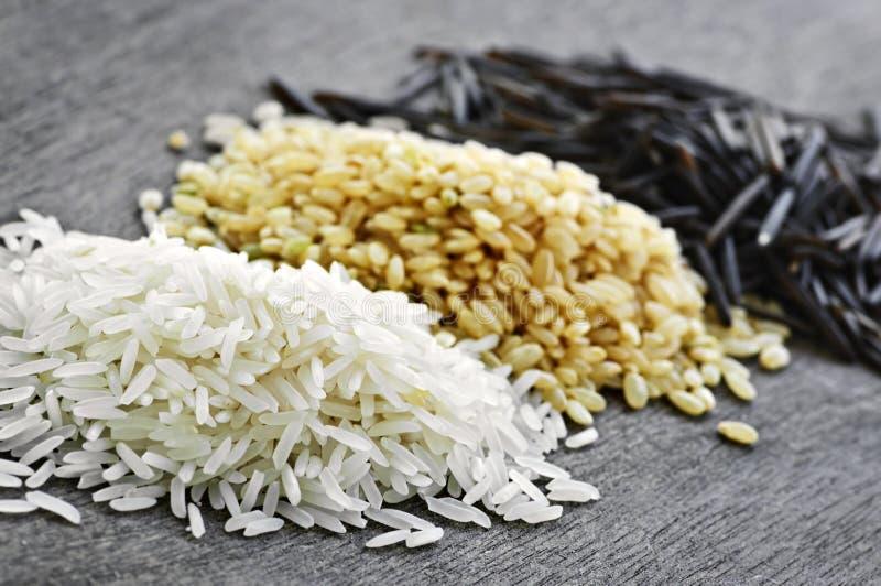 Drie stapels van rijst stock fotografie